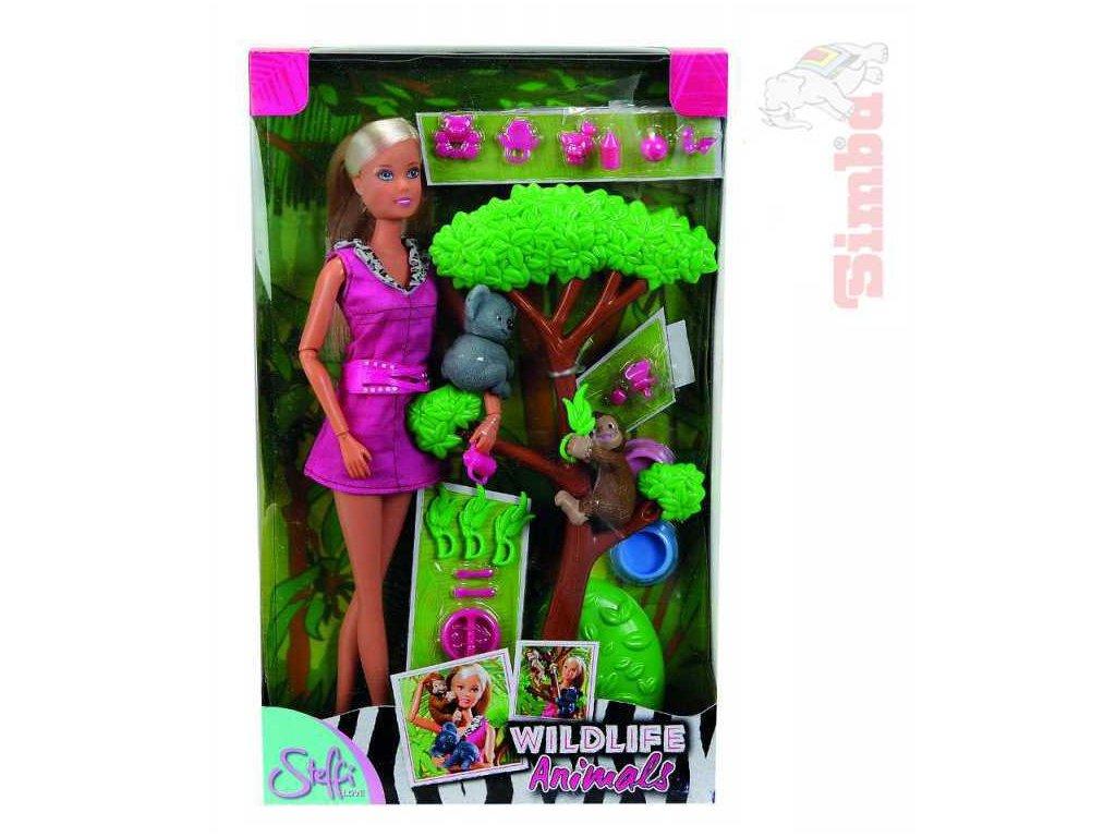 SIMBA Panenka Steffi Love 29cm set zvířátka z džungle s doplňky