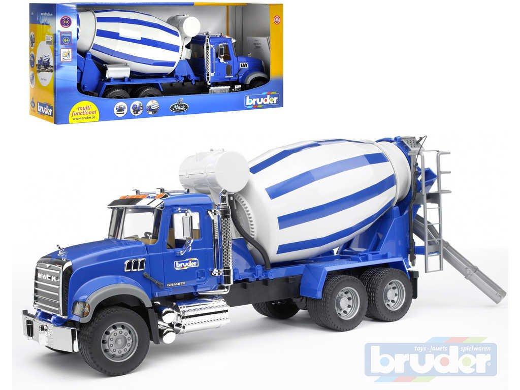 BRUDER 02814 (2814) Nákladní auto Mack Granite - domíchávač betonu modrý