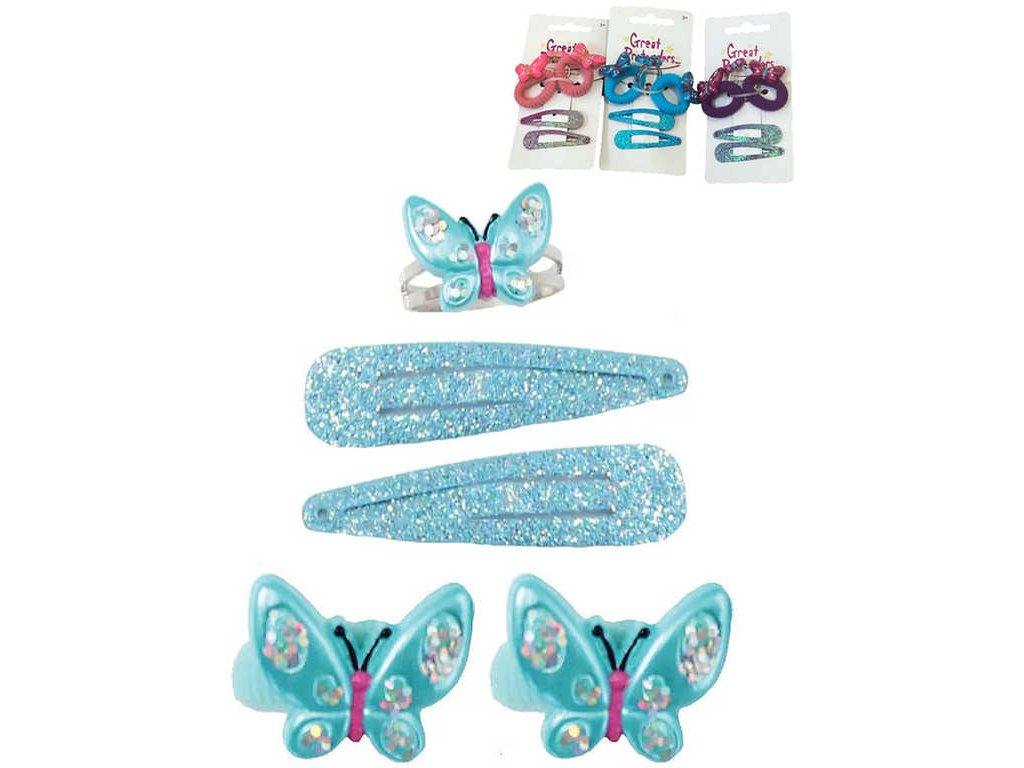MAC TOYS Sponky a gumičky dětské třpytivé do vlasů MOTÝLEK set 5ks 3 barvy