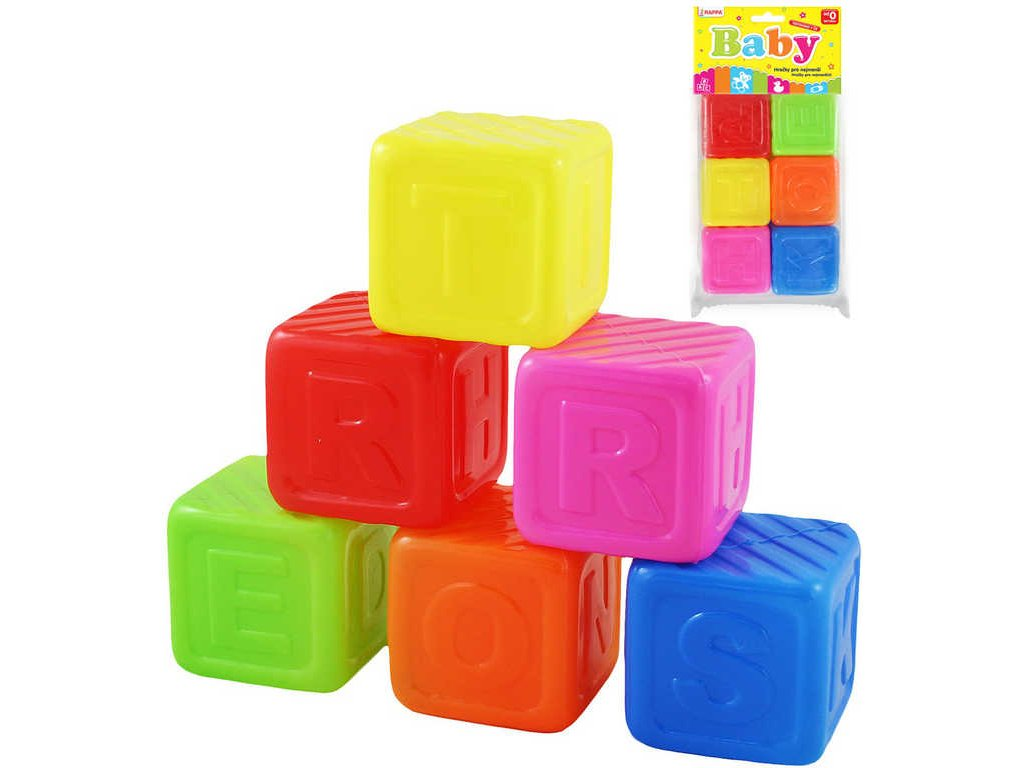 Kostky barevné baby plastové písmena set 6ks v sáčku pro miminko