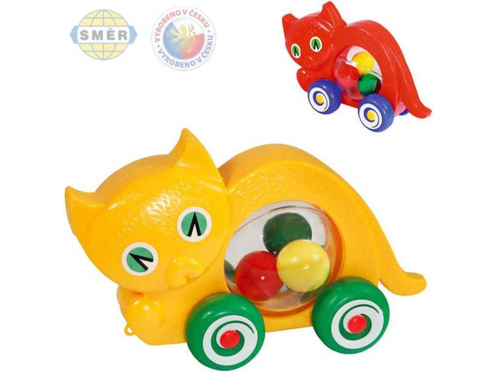 SMĚR Kočka baby na kolečkách s míčky 2 barvy PLAST