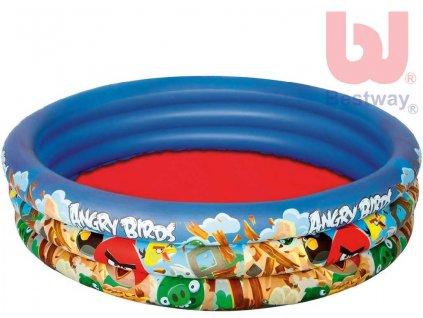 BESTWAY Nafukovací dětský bazén Angry Birds s opravnou sadou 152cm na vodu