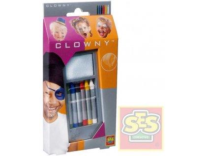 SES CREATIVE clowny pastelky klaunovské obličejové barevné set 6ks v krabičce