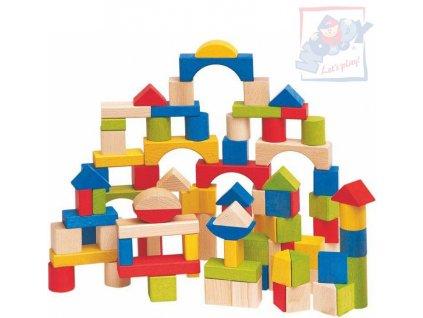 WOODY DŘEVO Stavebnice baby kostky klasické dřevěné set 100ks barevné