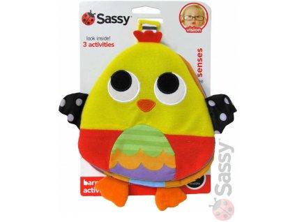 SASSY Baby knížečka textilní kuřátko s aktivitami na cesty pro miminko