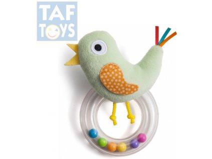 TAF TOYS Baby chrastítko plyšový ptáček s kuličkami pro miminko