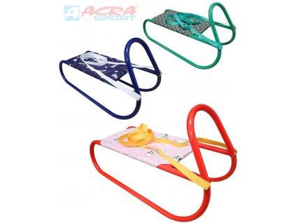 ACRA Sáně dětské kovové sáňky s popruhem 3 barvy