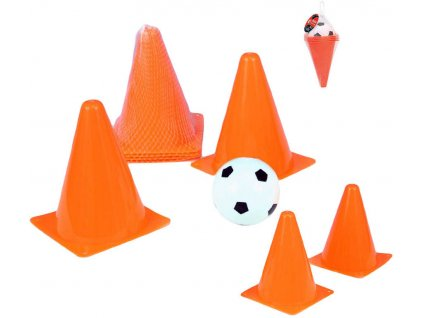 Fotbalové kužely plastové 4ks sada s míčkem v síťce