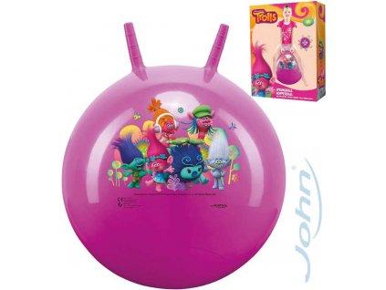 JOHN Hopsadlo Trollové 50cm dětský skákací míč růžový s držadly