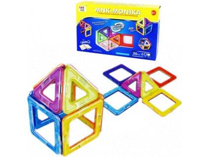 Stavebnice magnetická 3D tvary mnk-monika 20 dílků v krabici