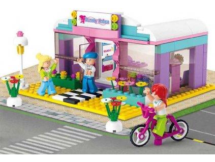 SLUBAN Stavebnice GIRLS kosmetický salon set 242 dílků + 3 figurky plast