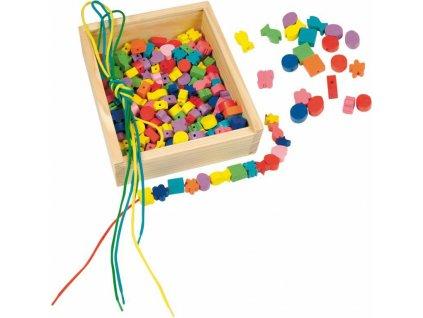 """WOODY Dřevěná krabička """"Navlékací perle"""" (200 perlí)"""