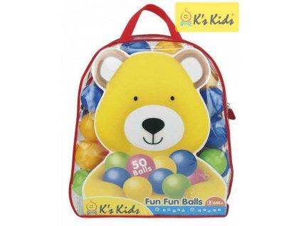 K´S KIDS Baby míčky 8cm barevné plastové v tašce na zip set 50ks do hracího koutku