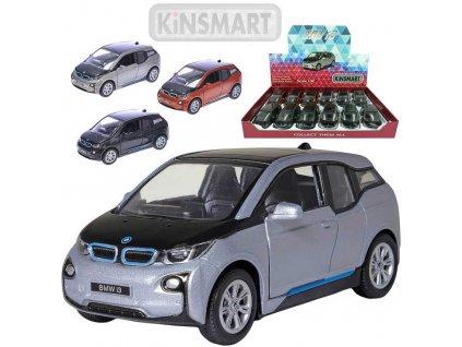 KINSMART Auto model 1:32 BMW I3 kov PB 13cm zpětný nátah 4 barvy