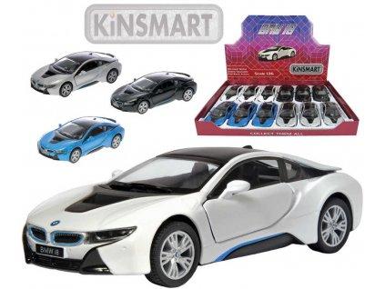KINSMART Auto model 1:36 BMW i8 kov PB 13cm zpětný nátah 4 barvy