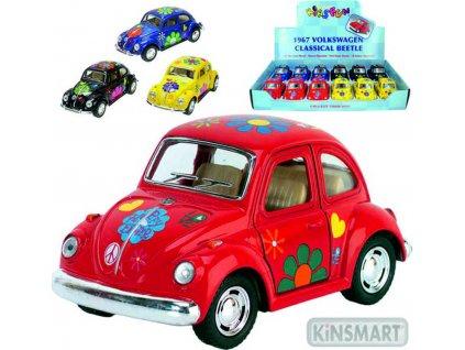 KINSMART Auto model 1:32 VW BEETLE HIPPIES kov PB 13cm 4 barvy
