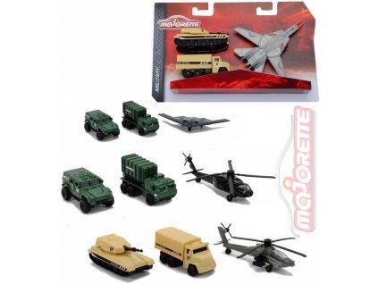 MAJORETTE Air Strike vojenský kovový set letadlo + 2 auta 4 druhy
