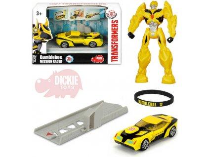 DICKIE Tranformers auto Mission Racer Bumblebee vytřelovací rampa zpětný chod