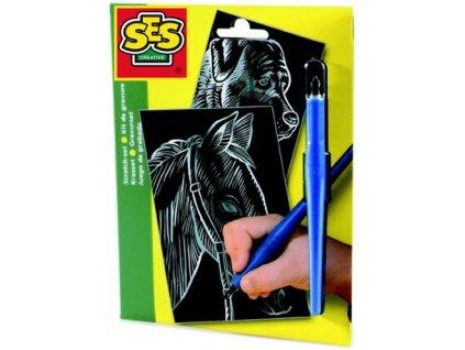 SES CREATIVE Obrázek vyškrabávací kůň a pes černo-stříbrný set 2ks s perem