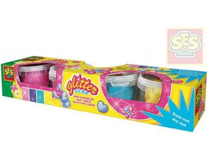 SES CREATIVE modelína dětská plastelína s třpytkami set 4 kelímky