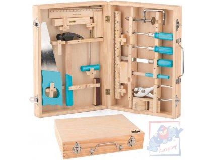 WOODY DŘEVO Nářadí dětské kovový set 16ks v dřevěném kufříku
