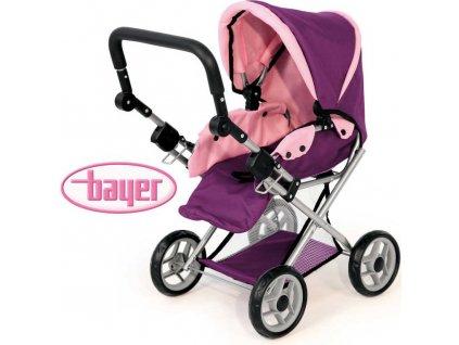 BAYER Kočárek maxi fialový kombinovaný pro panenku