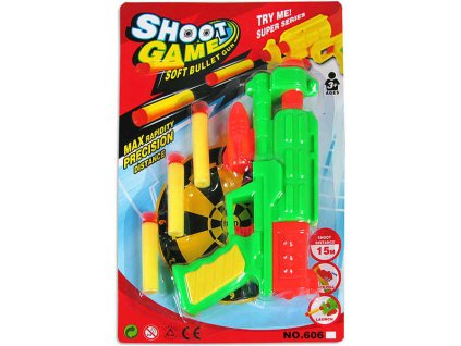 Pistole na softové střelky 18cm set s náboji na kartě 2 barvy