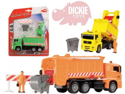 DICKIE Auto popelářské City Cleaner 22cm set s popelnicí a doplňky 3 barvy