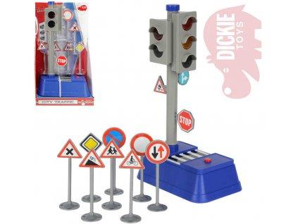 DICKIE Semafor funkční 24cm na baterie set s 8 dopravními značkami na kartě