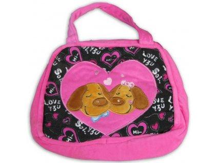PLYŠ Růžová dětská kabelka srdíčko pejsci 2 barvy zapínání na zip