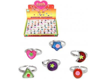 Prstýnek plastový dětská bižuterie různé druhy 7 tvarů