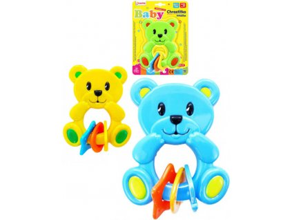 Chrastítko plastové baby medvídek 3 barvy pro miminko