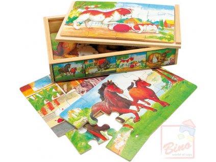 BINO DŘEVO Puzzle zvířátka v krabičce * DŘEVĚNÉ HRAČKY *