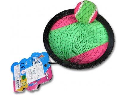 Hra Catch ball set s 2 talíře s míčkem na suchý zip v síťce