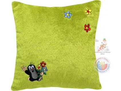 MORAVSKÁ ÚSTŘEDNA Polštář Krtek s motivem kytiček zelený Krteček *PLYŠOVÉ HRAČKY
