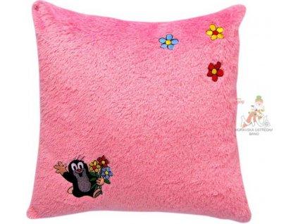 MORAVSKÁ ÚSTŘEDNA Polštář Krtek růžový s motivem kytiček Krteček *PLYŠOVÉ HRAČKY