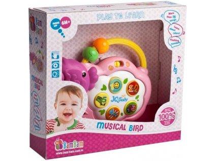 ET BAM BAM Ptáček baby hudební pro miminko zvuk světlo PLAST
