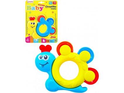 Chrastítko plastové baby šnek 2 barvy pro miminko