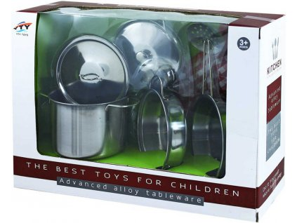 Nádobí dětské kovové nerezové set 8ks hrnce s pánvičkou a doplňky v krabici