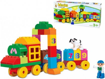 Stavebnice Blocks Vlak baby kostky s čísly a figurkami 62 dílků v krabici plast