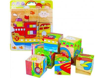 DŘEVO Kostky malé dětské dopravní prostředky kubus *DŘEVĚNÉ HRAČKY*