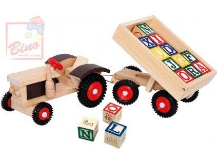BINO DŘEVO Traktor gumová kola + vlečka * DŘEVĚNÉ HRAČKY *