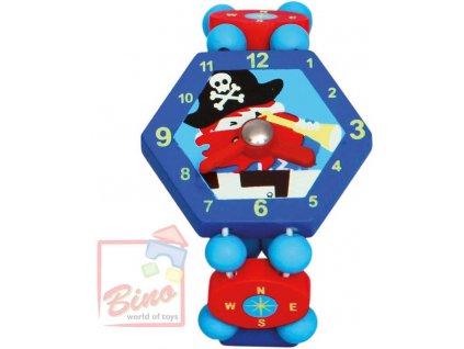 BINO DŘEVO Hodinky dětské modré Pirát *DŘEVĚNÉ HRAČKY*