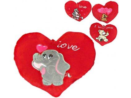PLYŠ Srdíčko Valentýn 14cm se zvířátkem I love you 4 druhy *PLYŠOVÉ HRAČKY*