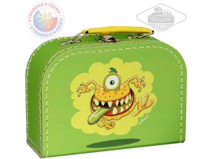 KAZETO Kufr dětský příšerky zelený střední kufřík