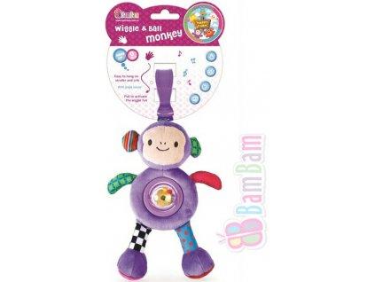 ET BAM BAM PLYŠ Opička vibrující přítel 22cm chrastítko na natažení pro miminko