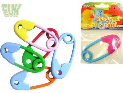 EVK Chrastítko barevný špendlík 12cm pro miminko 1ks v sáčku mix barev plast