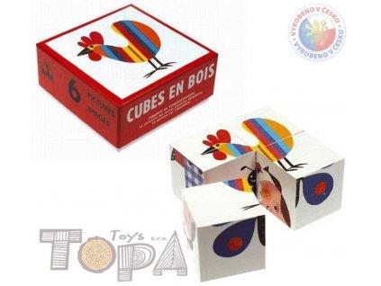 TOPA DŘEVO Kostky (kubus) Čtyřkostka 4 ks v krabičce BABY *DŘEVĚNÉ HRAČKY*