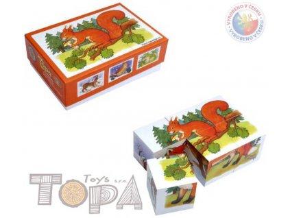 TOPA DŘEVO Kostky (kubus) Lesní zvířátka 6 ks v krabičce *DŘEVĚNÉ HRAČKY*