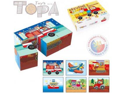 TOPA DŘEVO Kostky (kubus) Dopravní dřevo 6 ks v krabičce *DŘEVĚNÉ HRAČKY*